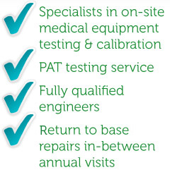 Specialists in on-site medical equipment calibration & testing as well as PAT testing services.